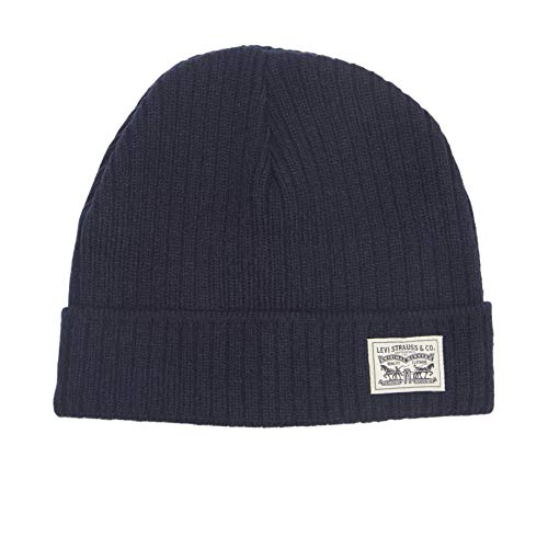 Levi's Classic Warm Winter Knit Beanie Hat Cap Fleece Lined for Men and Women, Navy Two, One Size
