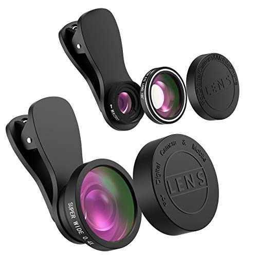 Mpow 3-in-1-Handy-Kameraobjektiv, 180° Fischauge objektiv, 10X Makroobjektiv und 0,4X Weitwinkelobjektiv (zusammengeschraubt), HD-Objektiv-Satz Kompatibel für iPhone XR, iPhone 8, iPhone 7, iPhone 6s