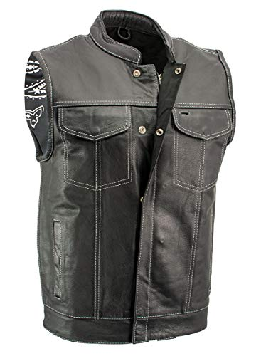 Xelement XS3450 Men's 'Paisley' Black Leather Motorcycle Vest with White Stitching - 4X-Large