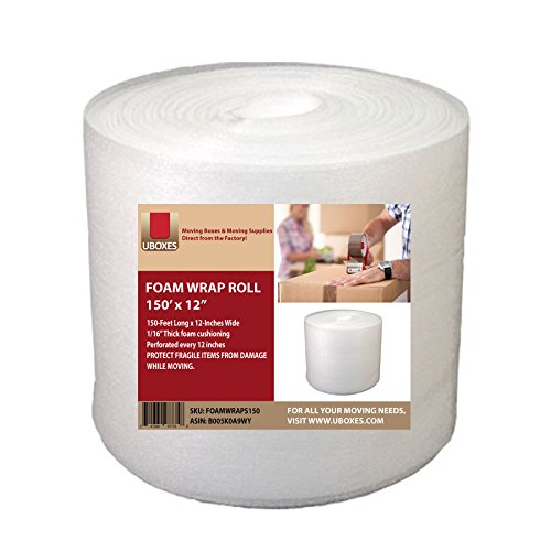UBOXES Foam Wrap Roll - 12' Wide x 150 feet - 1/16' - Perforated Every 12'