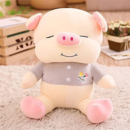 YMQKX 50-65cm Happy Fat Pig Pillow Plush Toy Animal Relleno cojín Sofá decoración Kawaii Lovely Gift para niños 50cm Gris