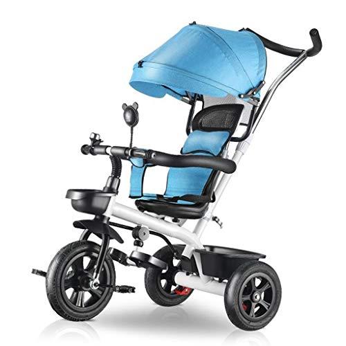 GCXLFJ Triciclo Bebe Niño Plegable Triciclo,1-6 Años De Edad Infantil 4 En 1 Sombrilla Triciclos,niñas Al Aire Libre Ajustable con Asa Triciclo,4 Colores (Color : Blue)