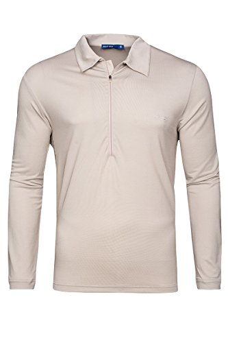 Bally Golf Herren Quick Dry Langarmpoloshirt Silver/Grey (50)