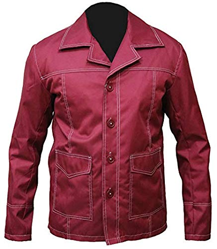 The Jasperz Mens Harrison Ford Indiana Jones Brown Distress Biker Leather Style Jacket (Small (38-40) Best For Chest Size, Rojo)