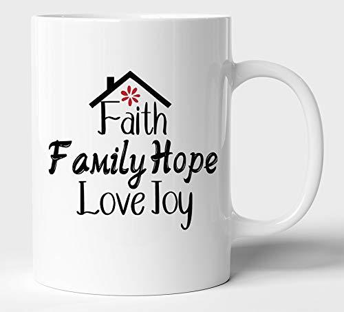 BLISSart Faith Family Hope Love Joy - Taza de café de cerámica o taza de té, ideal para regalo (350 ml o 11 onzas), color blanco