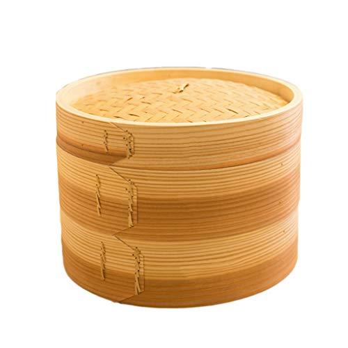 Vapeur en bambou avec couvercle Poisson Riz Légume Snack Panier à la vapeur Panier Cuisine Cuisson à la vapeur Cuisson Chauffage Batterie de cuisine (Taille : 27)