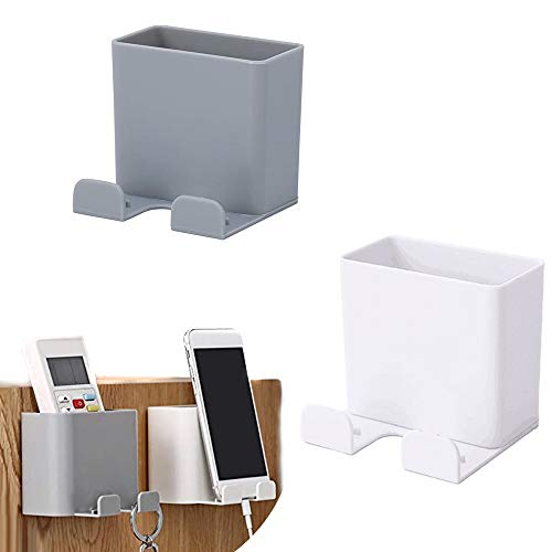 2 Pack Wall Mount Phone Holders, Phone Holder for Wall Adhesive Cell Phone Smartphone Charging Brackets Holders Shelf Remote Control Stand Organizer Storage Box for Bedroom Bathroom Office
