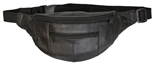 Marshal Black Leather Fanny Pack- Top Men´s Waist Money Belt/Women's Purse Hip Pouch Travel- Best Zippered Waist Pouch For Money/Passports/Card Security In Travel– Ideal For Hiking, Running