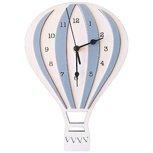 xingguang wall clock Nordic Style Children Cartoon Hot Air Balloon Clock Mute Clock Room Wall Clock Unique Gifts Home Decorations Gray (Color : Gray)