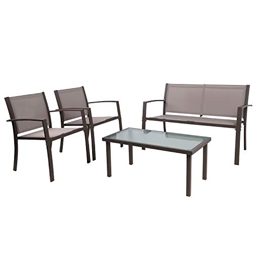 Garden Furniture Set, 4 Seater Patio Furniture Set, Glass Table with 3 Sofa Chairs Indoor Outdoor 4 Pieces Patio Sofa Set【2 Armchairs + 1 Double Sofa Chair + 1 Glass Coffee Table】(Brown)