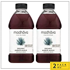 ORGANIC AGAVE NECTAR—TASTE THE DIFFERENCE: Pour a drop of our delicious organic blue agave nectar with this pack of 2, 46-ounce bottles of MADHAVA Organic Amber Agave INDEPENDENTLY AWARDED FOR PURITY: Continuously tested by The Clean Label Project to...