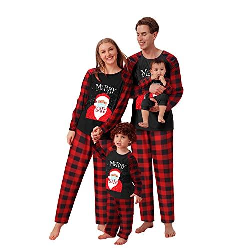 Alueeu Pijamas Navidad Familia Conjunto Otoño Invierno Casual Homewear Pantalon y Top con Estampado Camisón Mujere Hombre Niños Pijama de Año Nnuevo