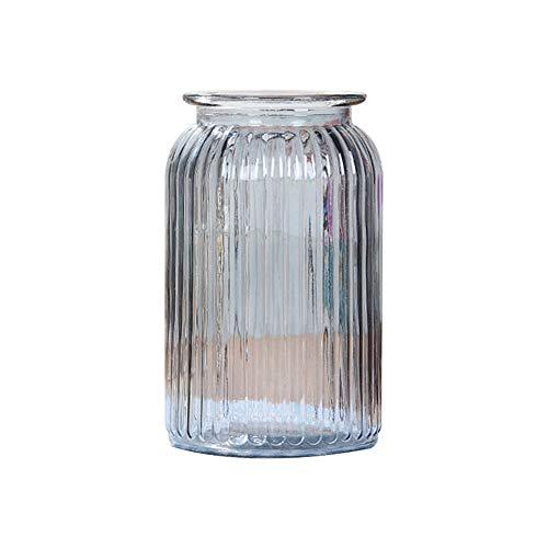 Gespout Vase en Verre Transparent Décoration Bande Verticale Design Mariage Banquet Fête Décor Accessoires de Composition Florale Ornements pour Maison Bureau Salon Jardin
