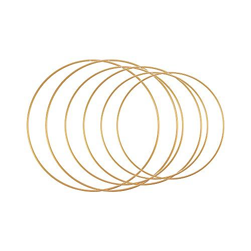Gobesty 6 PCS Anillos de Aros de Macramé, Anillos de Metal,Corona de Oro Macramé,Aros Grandes de Metal Dorado para Manualidades Atrapasueños Aros,Corona de Flores,Manualidades DIY Boda (20,25,30 cm)