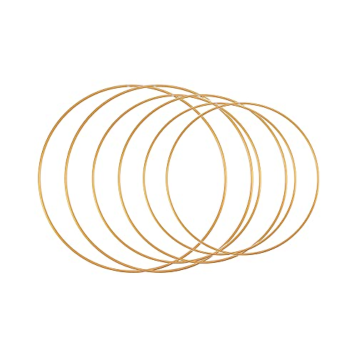 6 Stück Metall Floral Hoop Set, Goldener Ring Deko Metallring Bastelringe Floral Hoops Ringe DIY...