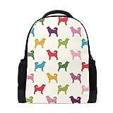 FANTAZIO Mochila colorida para perros, patrón de cachorro, mochila escolar