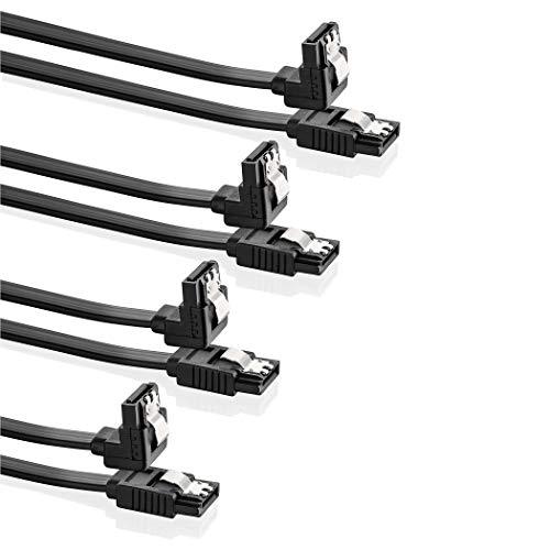 SEBSON SATA III Kabel 50cm 4er Set - Datenkabel 6 Gbit/s für SSD, HDD, interne Festplatten, Laufwerke - L-Typ Anschluss (gerade/gewinkelt 90°)