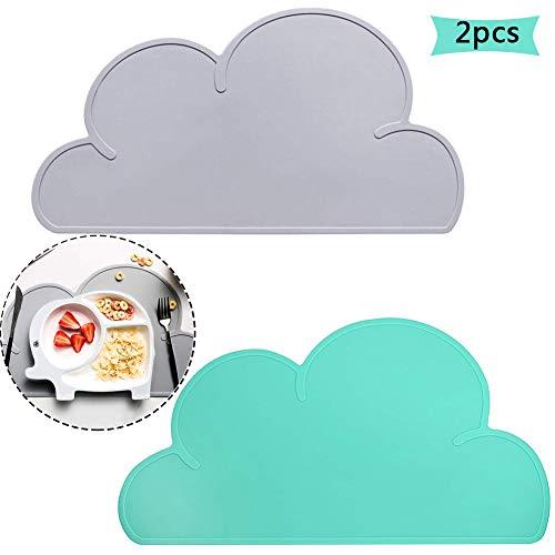 Kinder Platzset Wolke, BETOY 2 Stück Kinder Tischset Platzdeckchen Wolke Form Abwaschbar Rutschfeste Silikon Tragbar Essen Dekoration für Babys Kleinkinder Grau, Grün