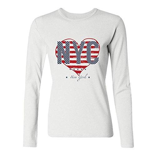 Camiseta casual con estampado de Nueva York con cuello redondo y estampado informal para mujer,  Blanco,…