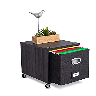 BirdRock Home Rolling File Storage Cube with Linen Filing B ox – Decorative Cabinet for Files, Blankets, Books, Magazines, Toys, etc – Removable Bin with Handles
