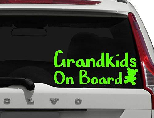 H421ld Grandkids on Board, Grandbaby on Board, Baby on Board Calcomanía de coche, niños a bordo, gran regalo para mamás, papás, abuelos, pegatina de seguridad