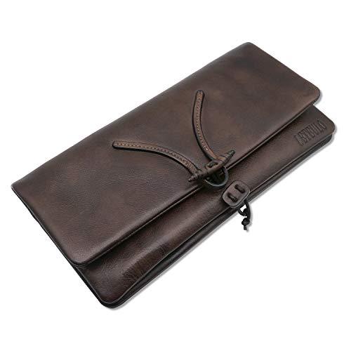 LETEULO Damen Herren Unisex Clutches Handtaschen Rindleder Echtleder Foldover Clutch Geldbörse Dip Dye Grosse Kapazität Kaffee …