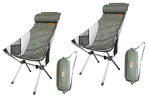 Nice C Silla De Camping Plegable Ultraligera con Respaldo Alto, Actualización con Almohada Extraíble, Bolsillo Lateral Y Bolsa De Transporte, Camping (Juego De 2 Verdes)