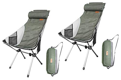 Nice C Ultralight High Back Folding Camping Chair, Upgrade with Removable Pillow, Side Pocket & Carry Bag, Compact & Heavy Duty for Outdoor, Camping (Set of 2 Green)