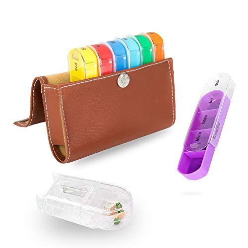 Pillenbox 7 Tage Pillenetui Medikamenten-Spender Veranstalter Tragbarer Morgen Mond Abend Schlafenszeit mit PU-Leder (Tablettenbox 7 Tage 28 Zellen)