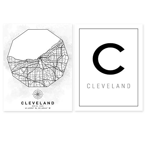 Cleveland OH Street Map Wall Art - Ohio Aerial Road View - Set of 2 11 x 14 Unframed Minimalist Art Decor - City Name Print - Ideal Gift for World Travelers, Architects, Civil Engineers