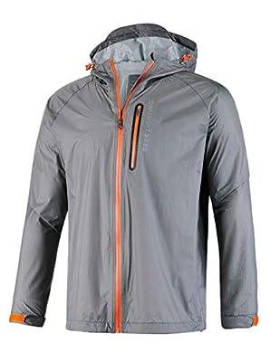 GEEK LIGHTING Rain Jacket for Men, Outdoor Zipper Waterproof Lightweight Raincoat Windbreaker with Hooded (Grey, Large) from GEEK LIGHTING