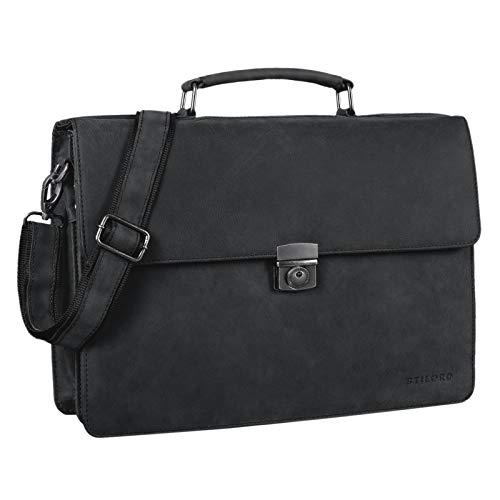STILORD 'Robert' Aktentasche Businesstasche 15,6 Zoll Laptopfach passend für große DIN A4 Ordner mit Schloss Rinds Leder, Farbe:anthrazit