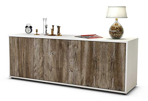 Stil.Zeit Möbel TV Schrank Lowboard Allegra, Korpus in Weiss matt/Front im Holz Design Treibholz (135x49x35cm), mit Push to Open Technik, Made in Germany