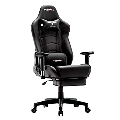 Ficmax Ergonomic Massage Gaming Chair Reclining Racing Office Chair High Back PU Leather Computer Desk Chair with Footrest Big and Tall E-Sports Chair with Headrest and Lumbar Support
