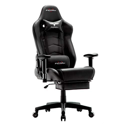 Ficmax Ergonomic Gaming Chair High Back Racing Gaming Chair with Footrest Massage Computer Gaming Chair Reclining Home Office Chair Large Pro Gamer Chair for E-Sports with Headrest and Lumbar Support