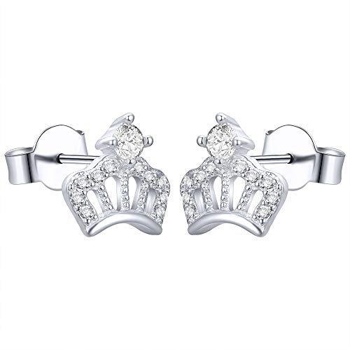 AoedeJ Princess Crown Stud Earrings, Sterling Silver Cubic Zirconia Earrings, Cute Stud Earrings for Girls (Stil 2)