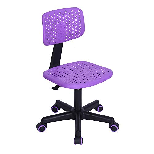 GreenForest Children Student Chair, Low-Back Armless Adjustable Swivel Ergonomic Home Office Student Computer Desk Chair, Hollow Star Purple