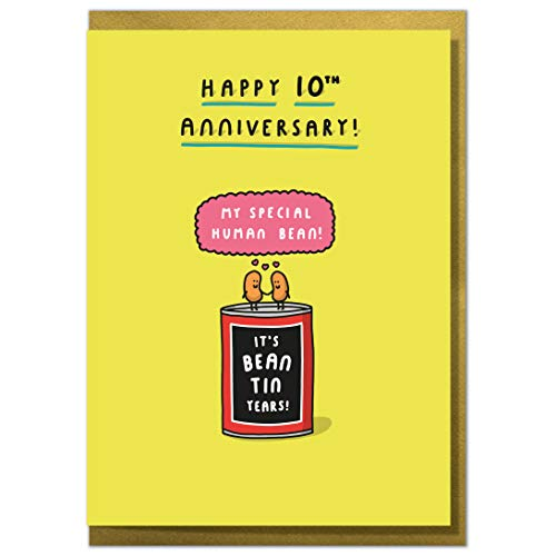 'It's Bean Tin Years!' Funny 10th Anniversary Card