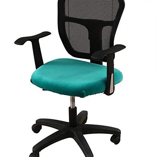 Fluwelen stof computer stoel hoes superzacht luxe bureaustoel dikke stoelbekleding stretch eetkamer hotel banket, pauwblauw, 40x42cm