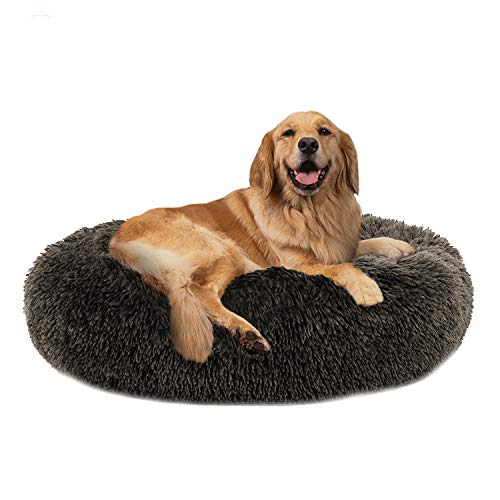 PUPPBUDD Calming Dog Bed Cat Bed Donut, Faux Fur Pet Bed Self-Warming Donut Cuddler, Comfortable Round Plush Dog Beds for Large Medium Dogs and Cats (24