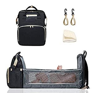 crib bedding and baby bedding travel bassinet foldable baby bag, estb convertible diaper bag backpack,multifunction portable travel crib with changing station, large capacity, waterproof
