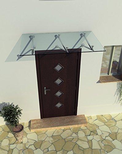 230 x 90 cm (3 Haltestangen) Glasvordach Vordach Türvordach Türdach Haustür Klarglas Glas Edelstahl VSG