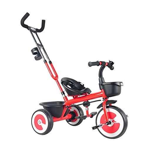 GYF Triciclo|Bebé Plegable 4 En 1 Trike |Bicicleta for Niños| De 5 Meses A 4 Años| Máx 25 Kg| Amarillo | Rojo | 48X97CM (Color : Red)