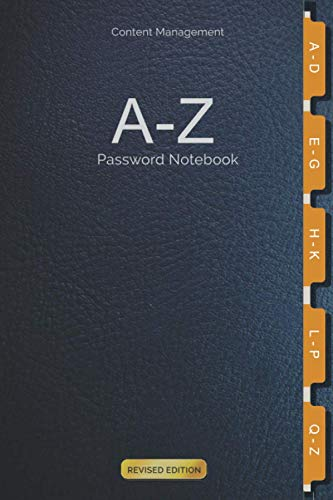 Content Management A-Z Password Notebook: For storing Computer and Social Media Log-in Passwords