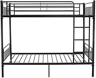 Single Metal bunk Bed 2 Person Bed Frame Children Twin Bedroom Furniture