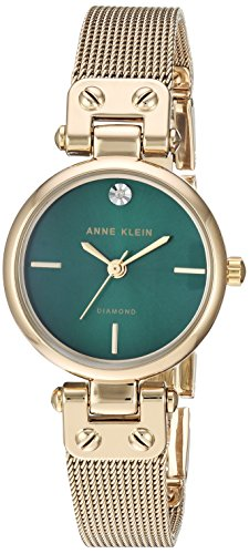 Anne Klein Women's Diamond-Accented Gold-Tone Mesh Bracelet Watch