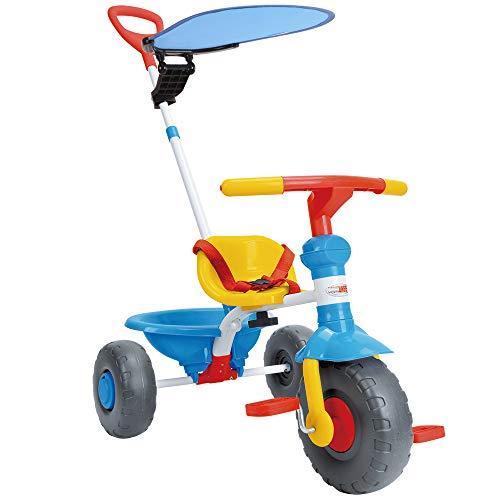 WonderTech Dreirad 2-in-1 Kinderwagen Dreirad mit lenkbarer Schubstange, Kinder Fahrrad mit Baldachin und Rutschfester Gummireifen-Blau