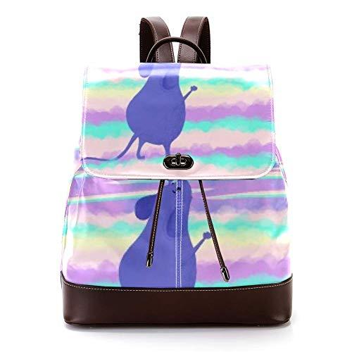 Lässiger PU Leder Rucksack für Herren Damen Schultertasche Studenten Tagesrucksack für Reisen Business College Rosa Laterne Maus