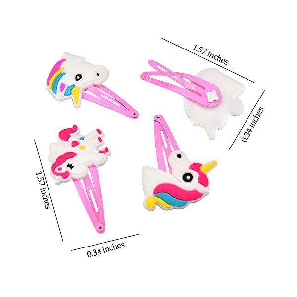 BBTO 22 Pieces Unicorn Pattern Hair Clips 1.57 inch Anti-slip Snap Hair Clips Barrettes Hairpins for Baby Girls Unicorn… 3