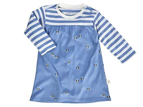 Bio Baby Kleid Langarm 100% Bio-Baumwolle (kbA) GOTS zertifiziert, Biene Blau, 74/80